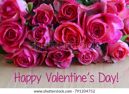 Happy Valentines Daybouquet Pink Roses On Stock Photo 791204752 ...