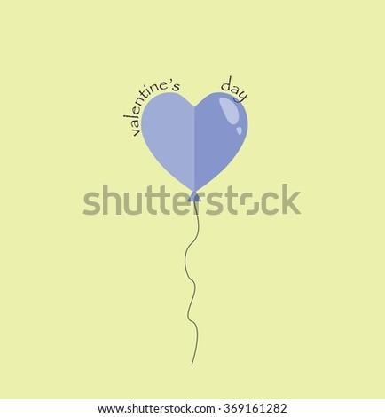 Happy valentines day card. Cute blue heart balloon - stock photo