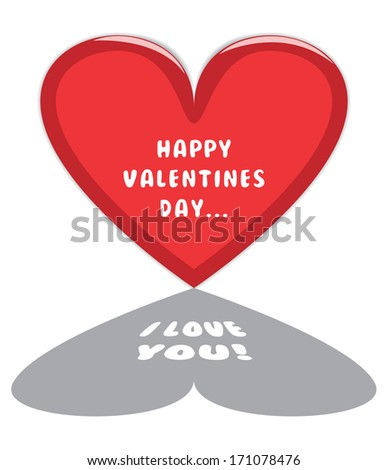 """Happy Valentines Day Card with Big Red Heart and """"I Love You"""" Text inside it's shadow. - stock photo"""