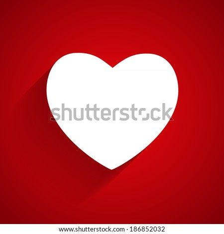 Happy Valentines Day Card with Heart. Flat   Illustration - stock photo