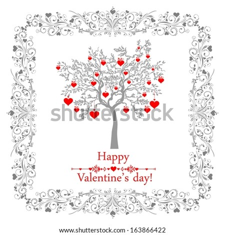 Happy valentines day card with ornaments, hearts and tree.  Illustration  - stock photo