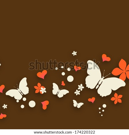 Happy Valentines Day celebration flyer, poster or banner decorate with beautiful butterflies and heart shapes on brown background.  - stock photo