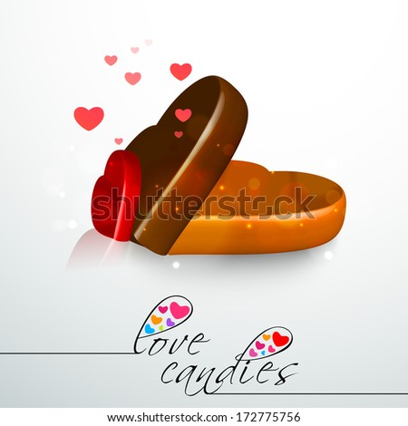 Happy Valentines Day concept with chocolate box on shiny grey background.  - stock photo