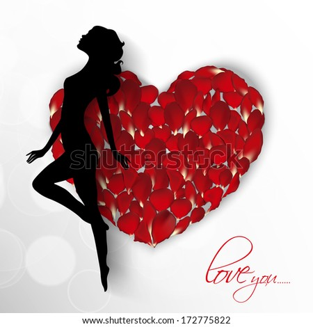 Happy Valentines Day concept with silhouette of beautiful girl on rose decorated grey background.  - stock photo