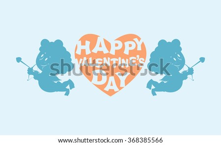 Happy Valentines day. Heart and kupiony. Little angels. Emblem for feast of love. February 14 Valentines holiday. Silhouette Angels with bows to Love feast.