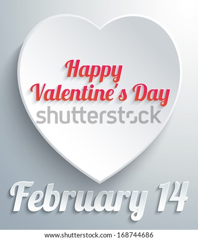 Happy Valentines Day Heart Paper. Raster copy