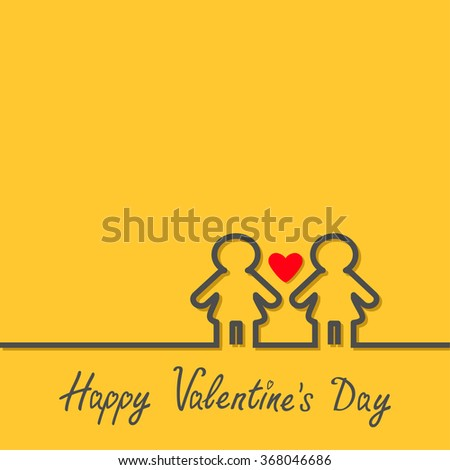 Happy Valentines Day. Love card. Gay marriage Pride symbol Two black contour women line sign with red heart LGBT icon Yellow background Flat design.  - stock photo
