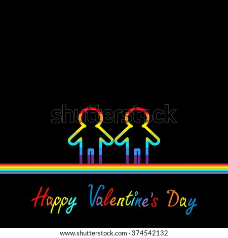 Happy Valentines Day. Love card. Gay marriage Pride symbol Two contour rainbow line man LGBT icon Flat design.  - stock photo