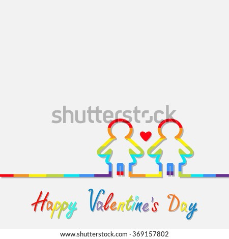 Happy Valentines Day. Love card. Gay marriage Pride symbol Two contour rainbow line woman LGBT icon Red heart Flat design.  - stock photo
