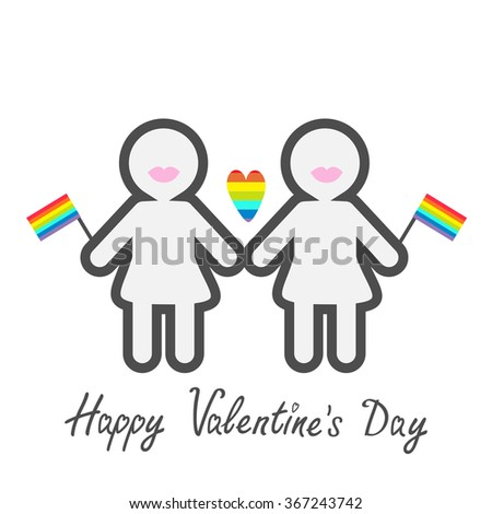 Happy Valentines Day. Love card. Gay marriage Pride symbol Two contour women with lips and flags LGBT icon Rainbow heart Flat design.  - stock photo