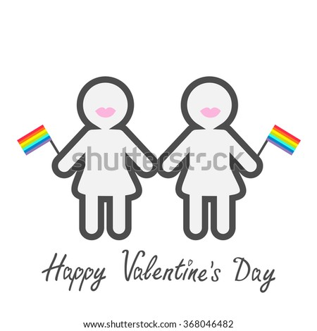 Happy Valentines Day. Love card. Gay marriage Pride symbol Two contour women with lips and flags LGBT icon Rainbow Flat design.  - stock photo