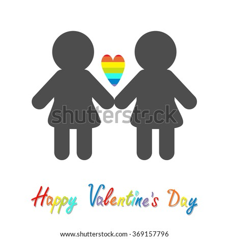 Happy Valentines Day. Love card. Gay marriage Pride symbol Two woman silhouette LGBT icon Rainbow heart Flat design.  - stock photo