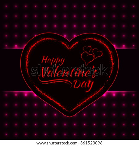 Happy Valentines day pink lights card, heart and text lights design on dark background