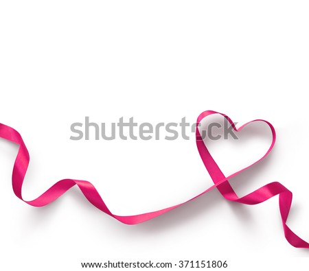 Happy Valentines Day. Pink Ribbon Heart on white background. Valentines Day concept - stock photo