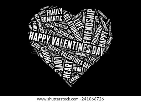 Happy valentines day with Love info-white and grey text graphic concept composed in heart shape on black background - stock photo