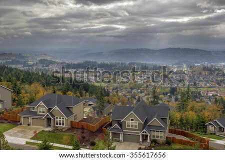 Happy Valley Oregon Rapid Growing City Residential Homes in Fall Season - stock photo