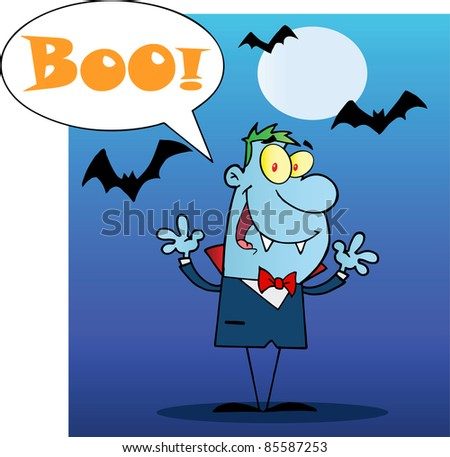 Happy Vampire With Speech Bubble And Text Boo