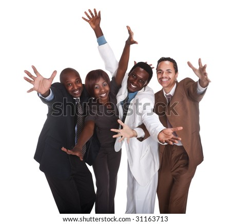 happy various gender and race business people, pointing hands up - stock photo