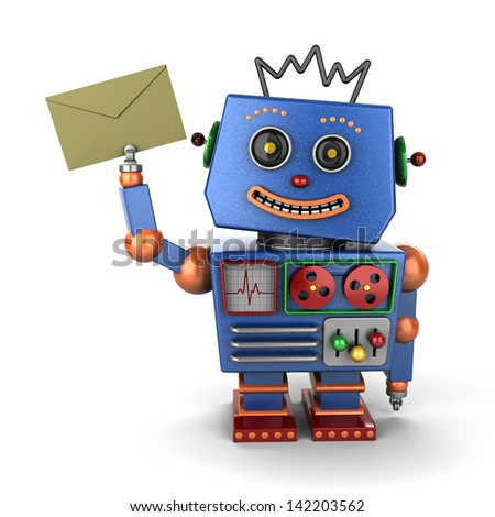 Happy vintage toy robot holding an envelope over white background - stock photo