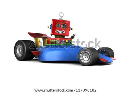 Happy vintage toy robot in a race car - stock photo