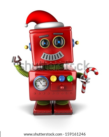 Happy vintage toy robot wearing a Santa hat and holding a candy cane. - stock photo