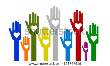 Happy volunteering hands representing love, three-dimensional rendering - stock photo