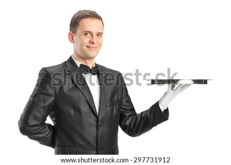 Happy waiter holding a tray isolated on white background
