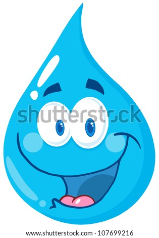 Happy Water Drop Cartoon Character . Raster Illustration - stock photo