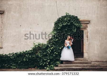 Happy wedding couple hugging and smiling each other on the background gorgeous plants in castle - stock photo