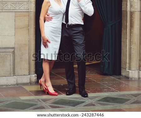 Happy wedding couple posing. - stock photo