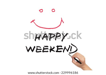 Happy weekend words written on white paper - stock photo