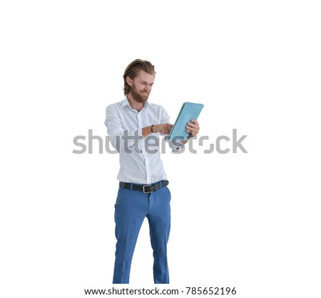 Happy western businessman using a tablet isolated on white