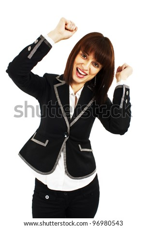Happy winner. success business woman celebrating screaming and dancing of joy winning. Isolated on white background. - stock photo