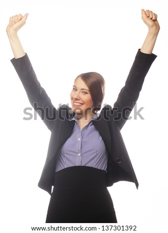 Happy winner. Successful business woman celebrating with arms up. - stock photo