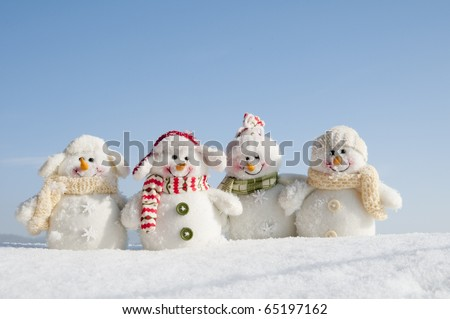 Happy winter friends (copy space) - stock photo