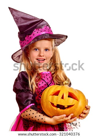 Happy witch children at Halloween party. - stock photo