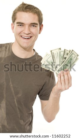 Happy with money. - stock photo