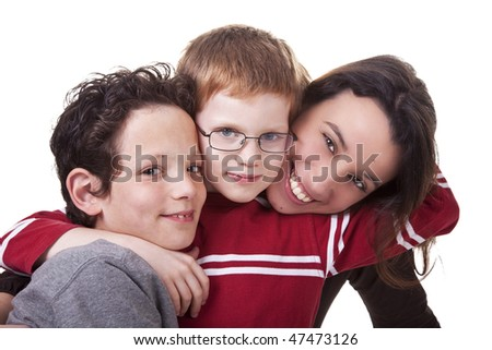 happy woman and children