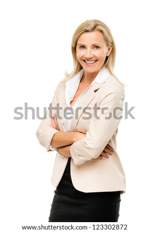 Happy woman arms folded isolated on white background