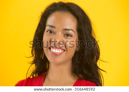 Happy woman closeup face - stock photo