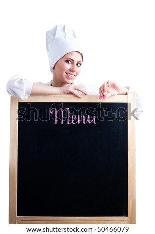 Happy woman cook show menu blackboard, isolated on white - stock photo
