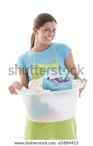 Happy Woman Doing the Laundry, white background - stock photo