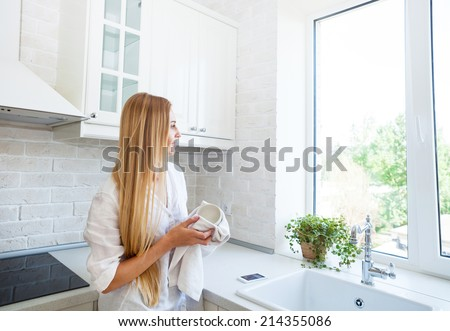 Happy woman doing the washing up in the kitchen - stock photo