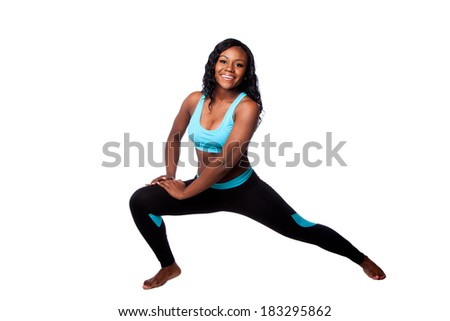 Happy woman doing workout fitness stretching exercise to feel good, bodycare concept, isolated. - stock photo