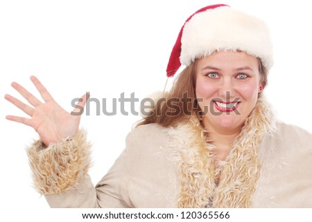 Happy woman dressed for winter weather - stock photo