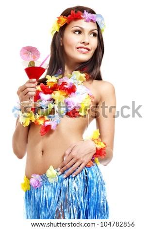 Happy woman drinking juice of Hawaii. - stock photo