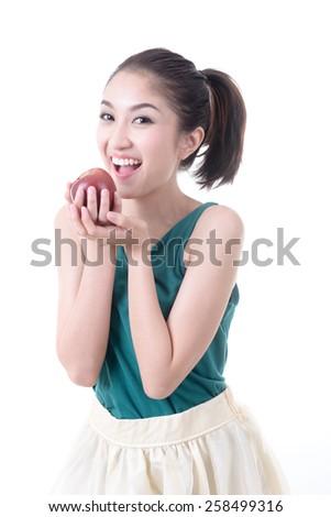 Happy woman eat apple. - stock photo