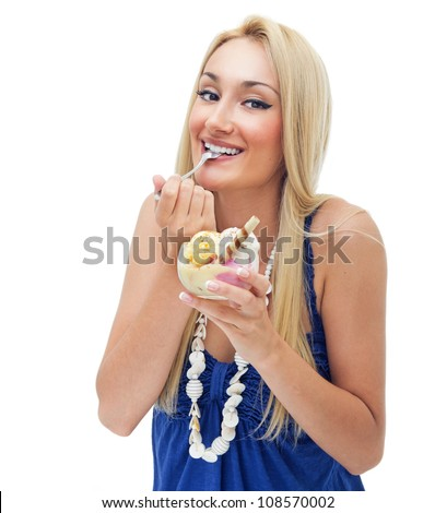Happy woman eating ice cream,isolated on white - stock photo