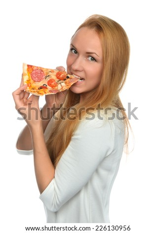 Happy woman enjoy eating slice of pepperoni pizza with tomatoes cheese isolated on a white background