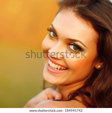 Happy Woman Enjoying Nature. Beauty Girl Outdoor.  - stock photo